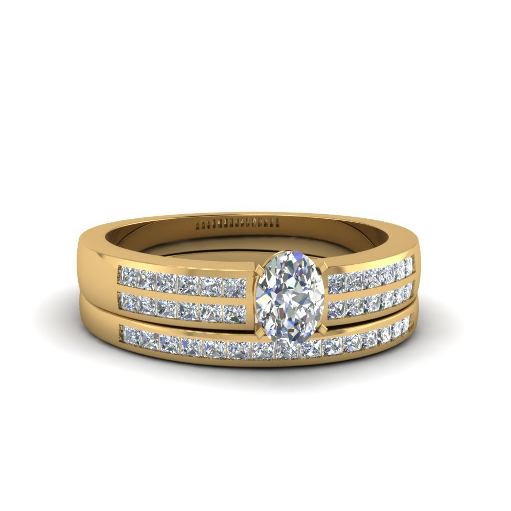 Oval Shaped Double Row Channel Diamond Wide Bridal Set In 18K Yellow Gold