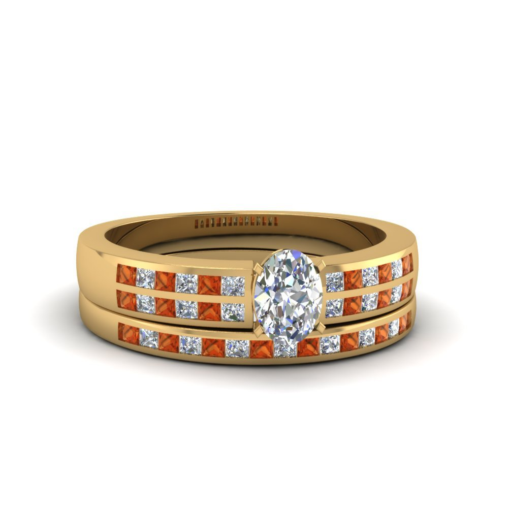 Oval Shaped Double Row Channel Diamond Wide Bridal Set With Orange Sapphire In 14K Yellow Gold