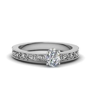 Oval Shaped Flower Solitaire Ring
