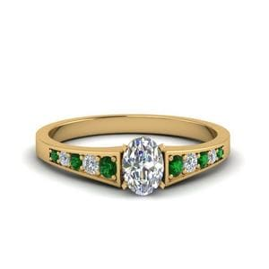 Graduated Pave Emerald Ring