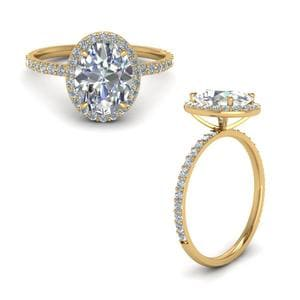Matching Oval Halo Diamond Ring