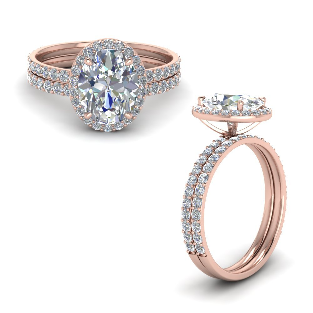 Oval Shaped Halo Diamond Wedding Set In 14K Rose Gold