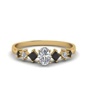 Oval Black Diamond Gold Ring