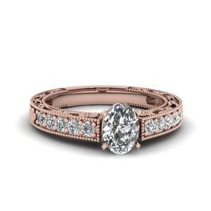 Oval Shaped Milgrain Pave Diamond Engagement Ring In 14K Rose Gold
