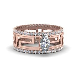 Oval Shaped Modern Diamond Trio Wedding Set In 14K Rose Gold
