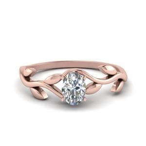 Solitaire Leaf And Oval Ring