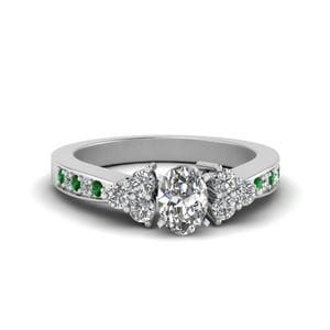 Emerald Oval Diamond Delicate Ring