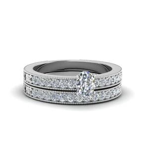 Oval Shaped Pave Diamond Milgrain Bridal Set In 950 Platinum