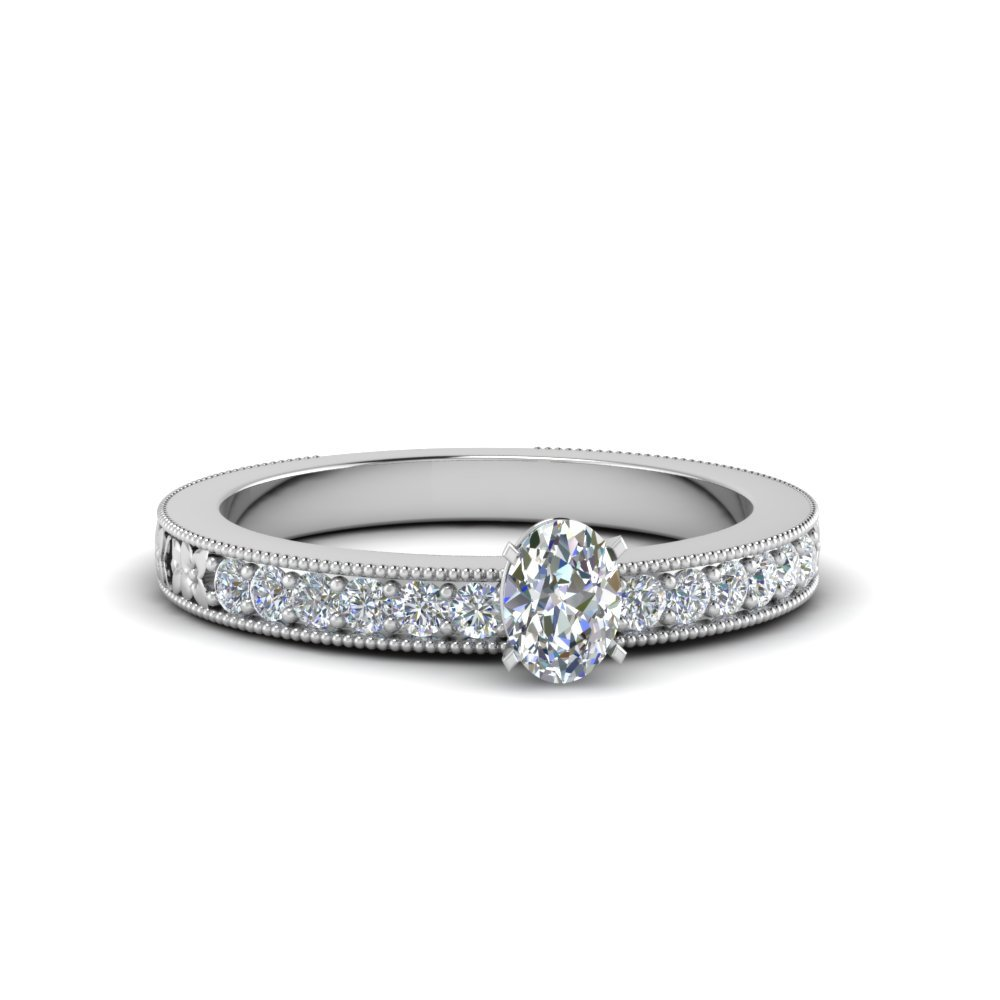 Oval Shaped Pave Diamond Milgrain Engagement Ring In 950 Platinum