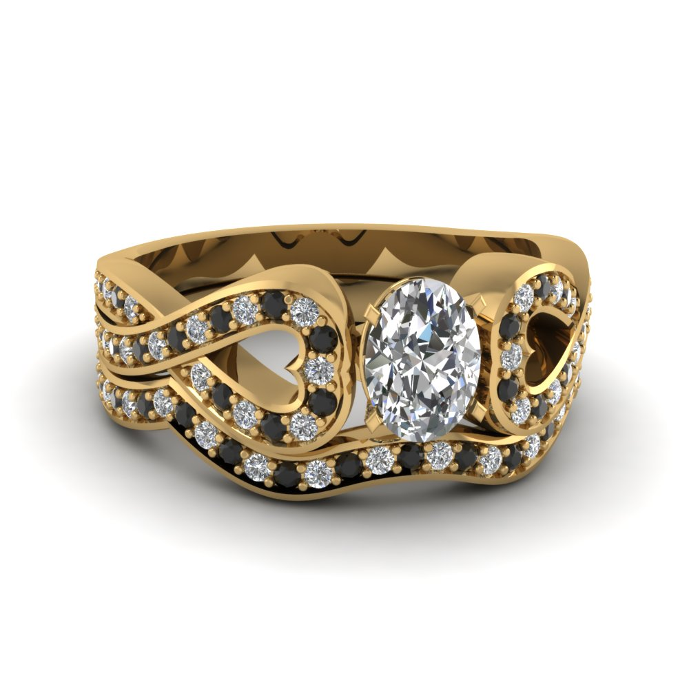 Entwined Oval Wedding Ring Set With Black Diamond In 18K Yellow Gold