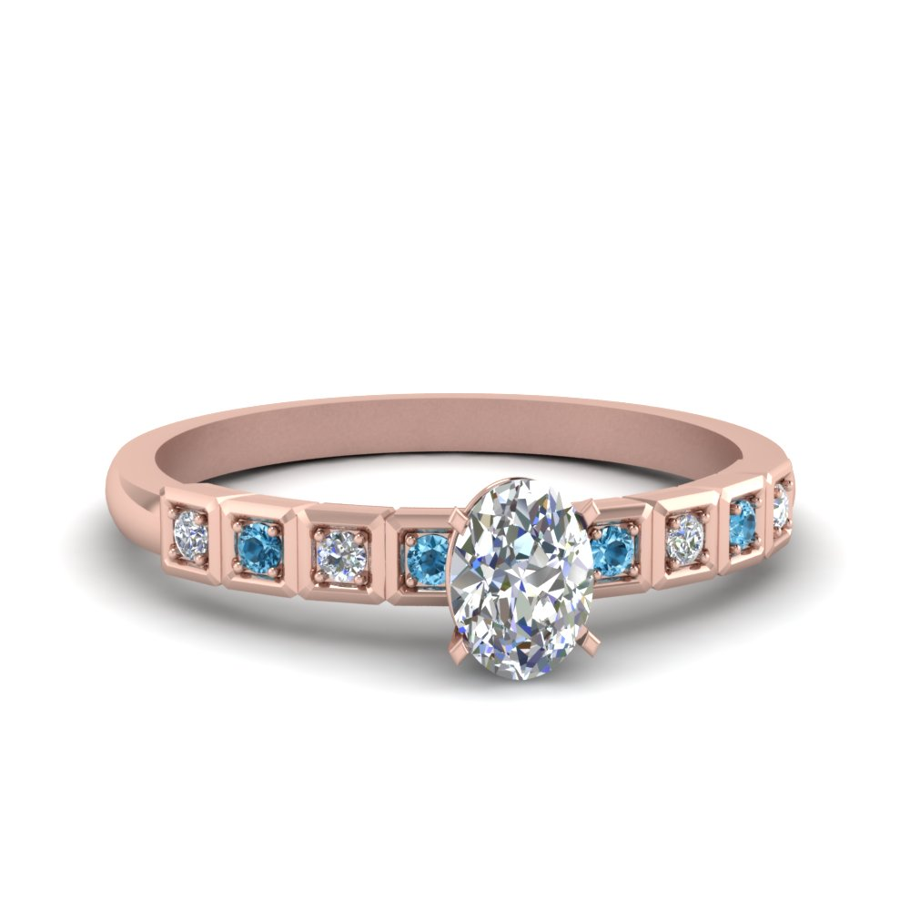 Oval Shaped Petite Block Design Diamond Engagement Ring With Ice Blue Topaz In 14K Rose Gold