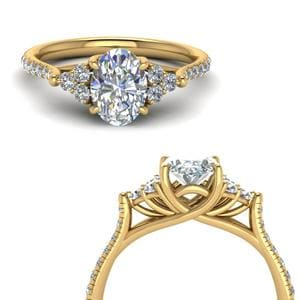 Oval Shaped Petite Cathedral Ring
