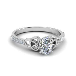 Petite Celtic Oval Shaped Diamond Engagement Ring In 14K White Gold