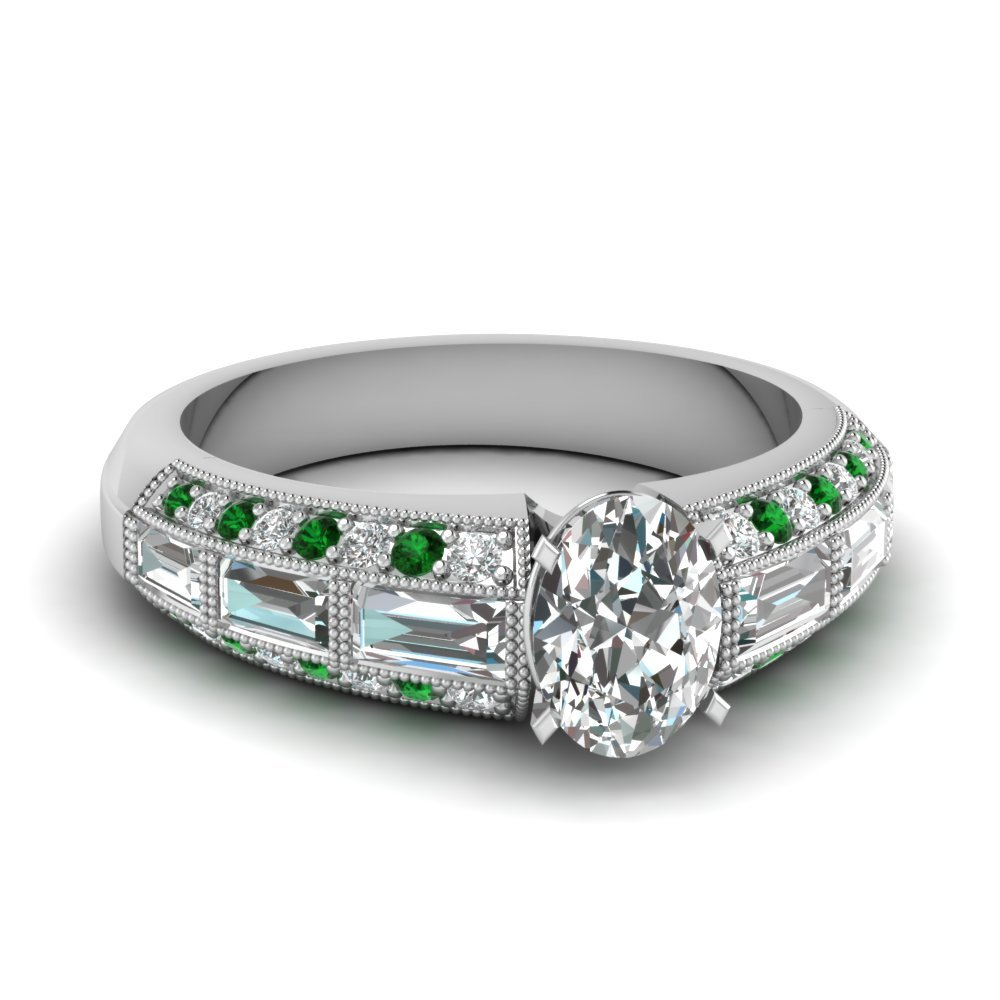 Emerald Oval Shaped Diamond RIng