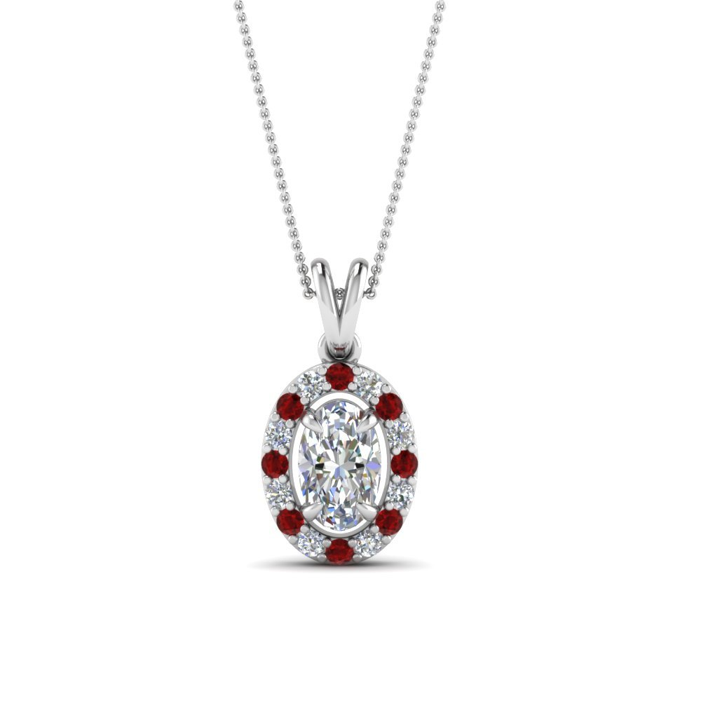 Oval Cut Halo Ruby Pendant