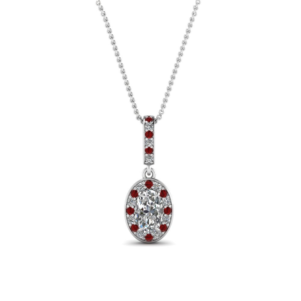 Halo Oval Ruby Pendant