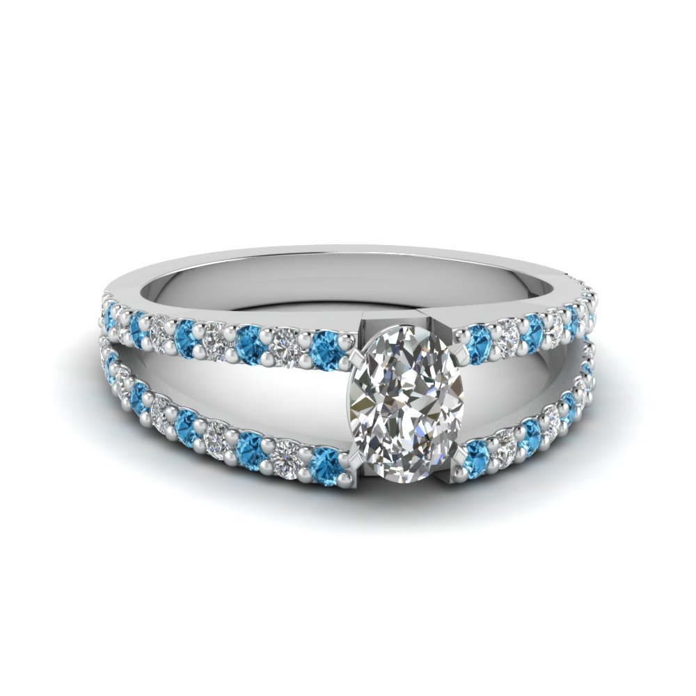 Blue Topaz Encrusted Split Ring