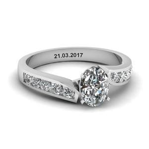 Unique Swirl Oval Diamond Engagement Ring In 950 Platinum