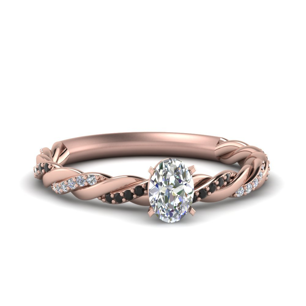 Twisted Delicate Oval Shaped Engagement Ring With Black Diamond In 14K Rose Gold