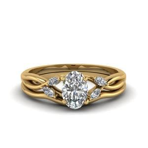 Oval Twisted Diamond Ring With Curved Band