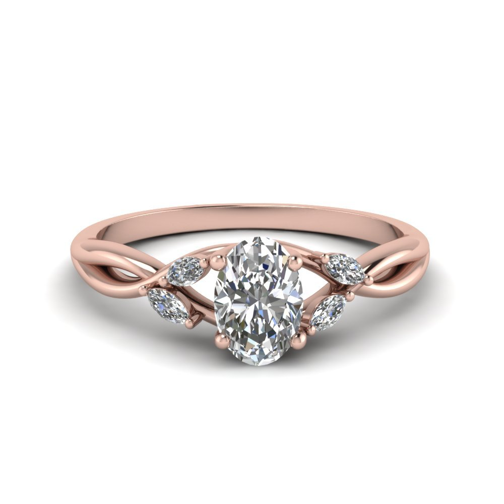 Oval Shaped Twisted Petal Diamond Engagement Ring In 18K Rose Gold
