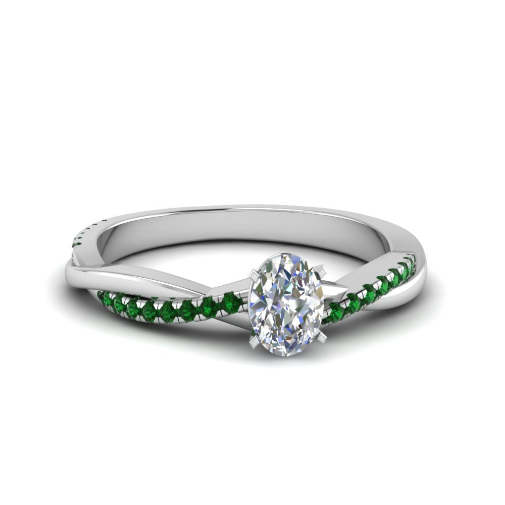 Oval Shaped Twisted Vine Diamond Ring With Emerald In 18K White Gold