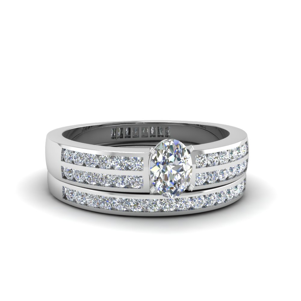 Oval Shaped Two Row Channel Diamond Bridal Set In 14K White Gold