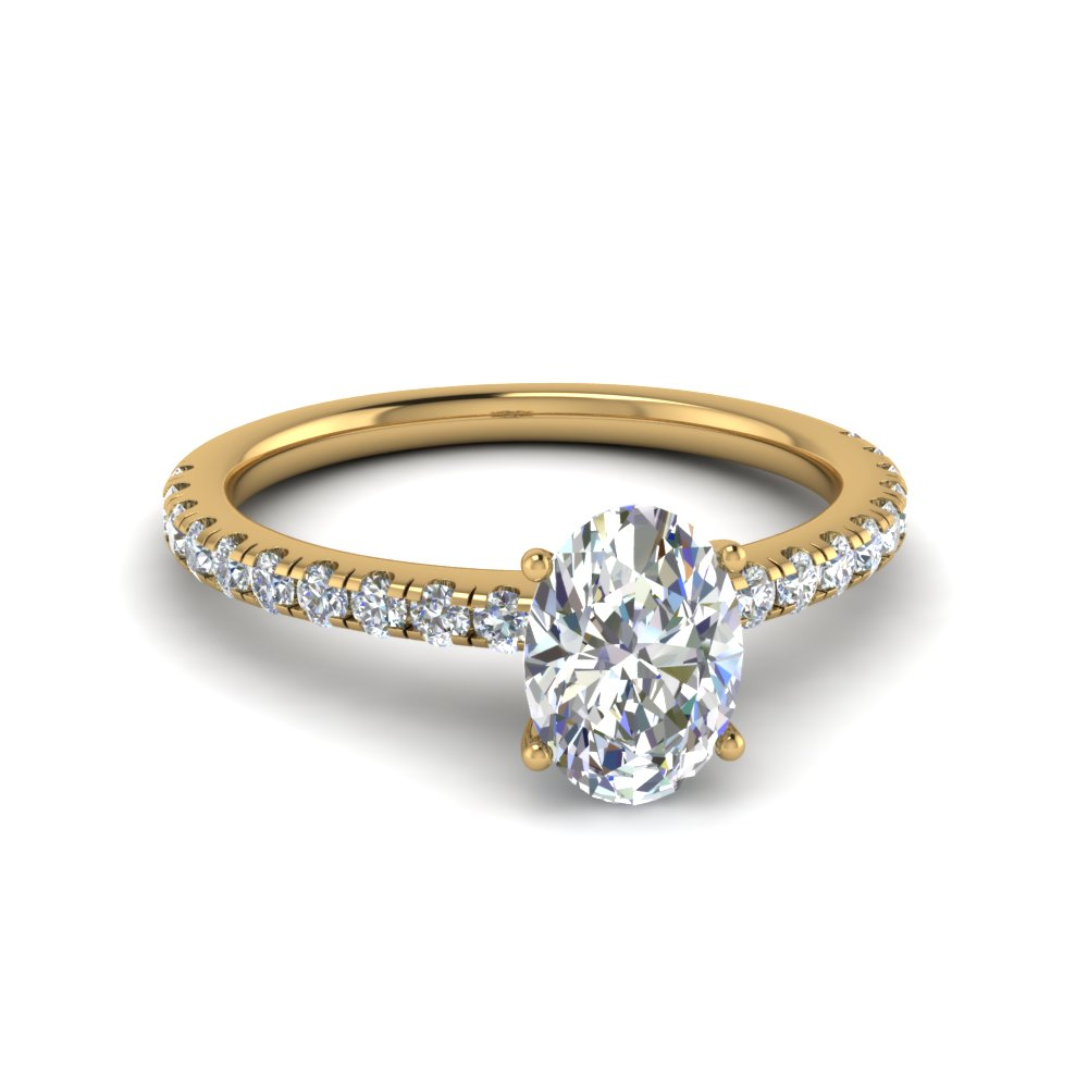 Oval Shaped U Prong Diamond Ring In 18K Yellow Gold