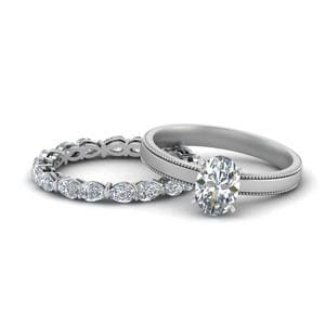 Single Oval Diamond Bridal Set