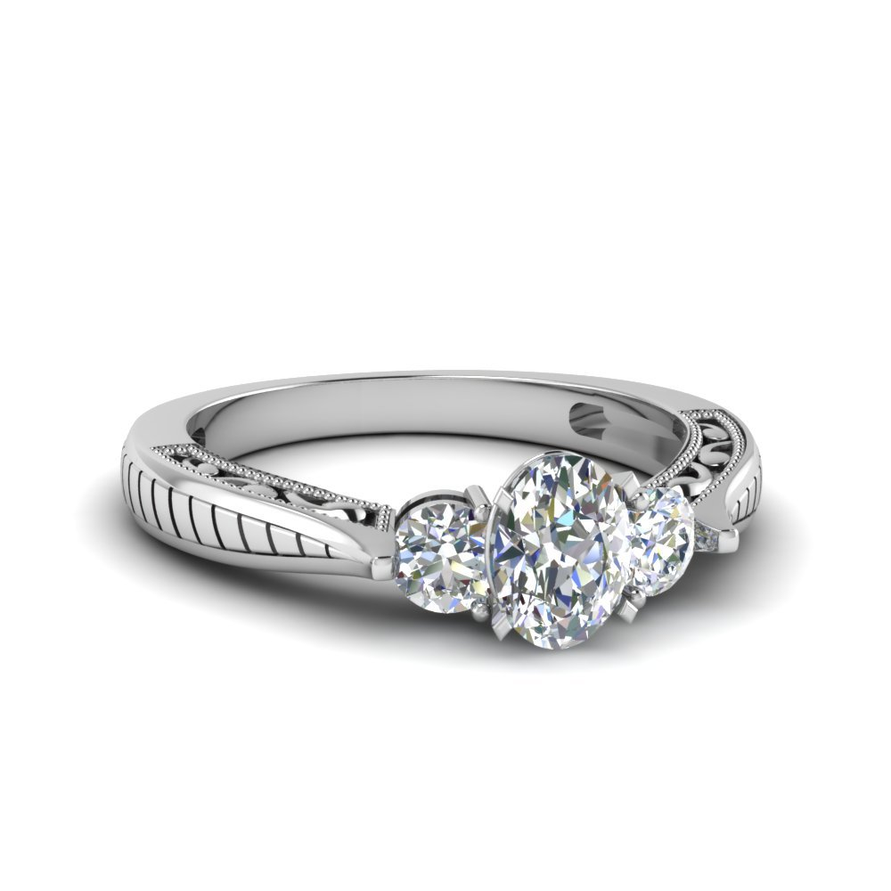 Oval Shaped Vintage Style Three Stone Diamond Engagement Ring In 14K White Gold