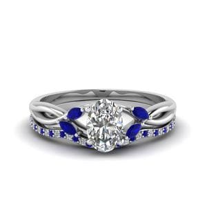 Twisted Ring Set with Sapphire Accents