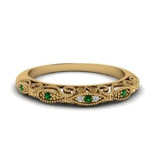 Emerald Filigree Wedding Band