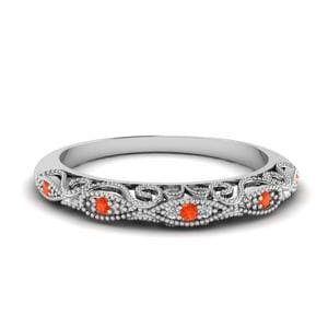 Platinum Orange Topaz Wedding Band