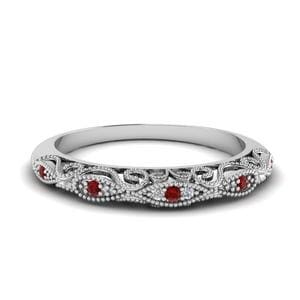 Milgrain Pave Ruby Wedding Band