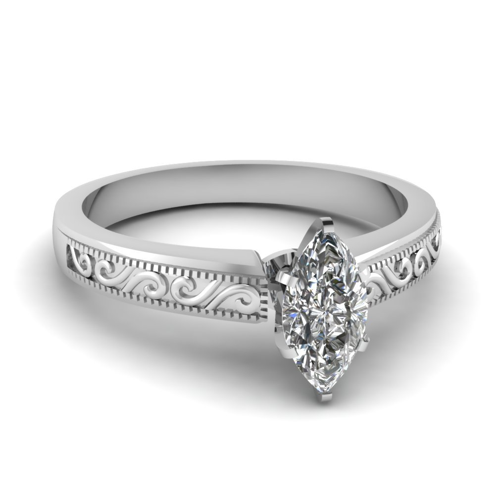 Paisley Engraved 0.75 carat Marquise Diamond Ring