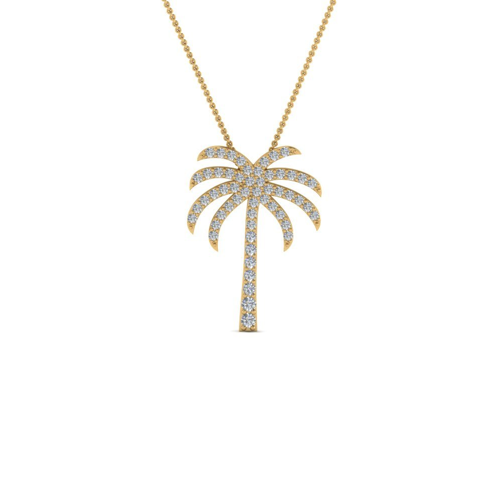 Palm Tree Diamond Pendant Necklace