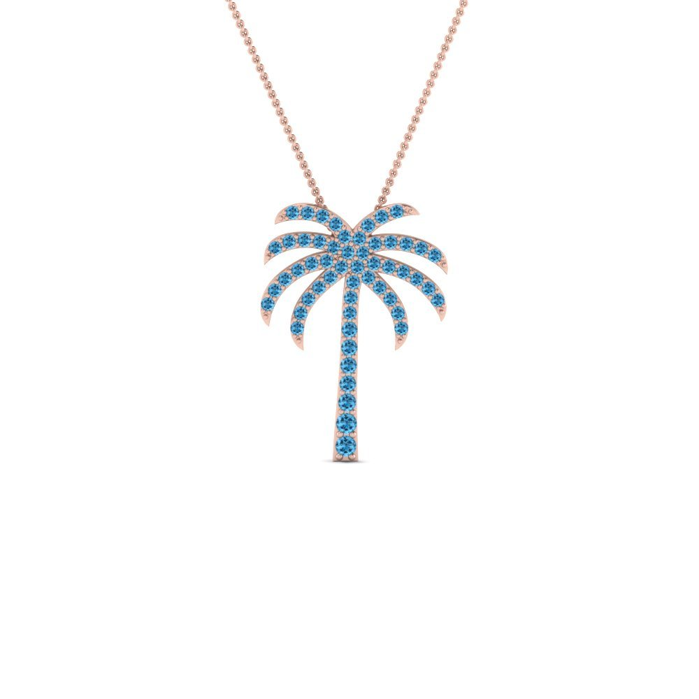 Palm Tree Blue Topaz Pendant Necklace