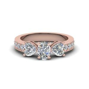 Pave 3 Stone Cushion Diamond Engagement Ring 2 Carat In 14K Rose Gold