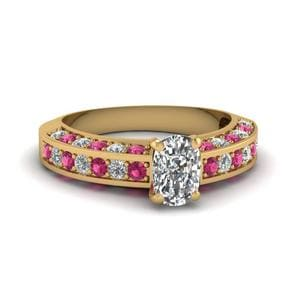 3 Sided Pave Pink Sapphire Ring