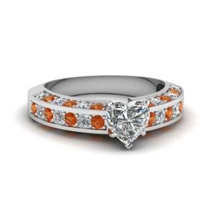 Pave Accents Orange Sapphire Ring
