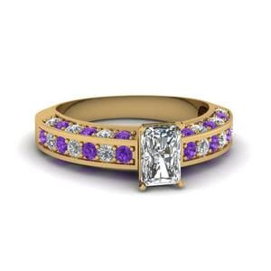 Three Sided Pave Purple Topaz Ring