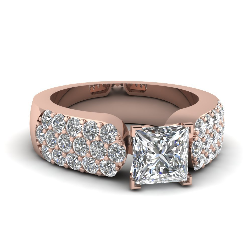 Pave 2 Ct. Princess Cut Engagement Ring