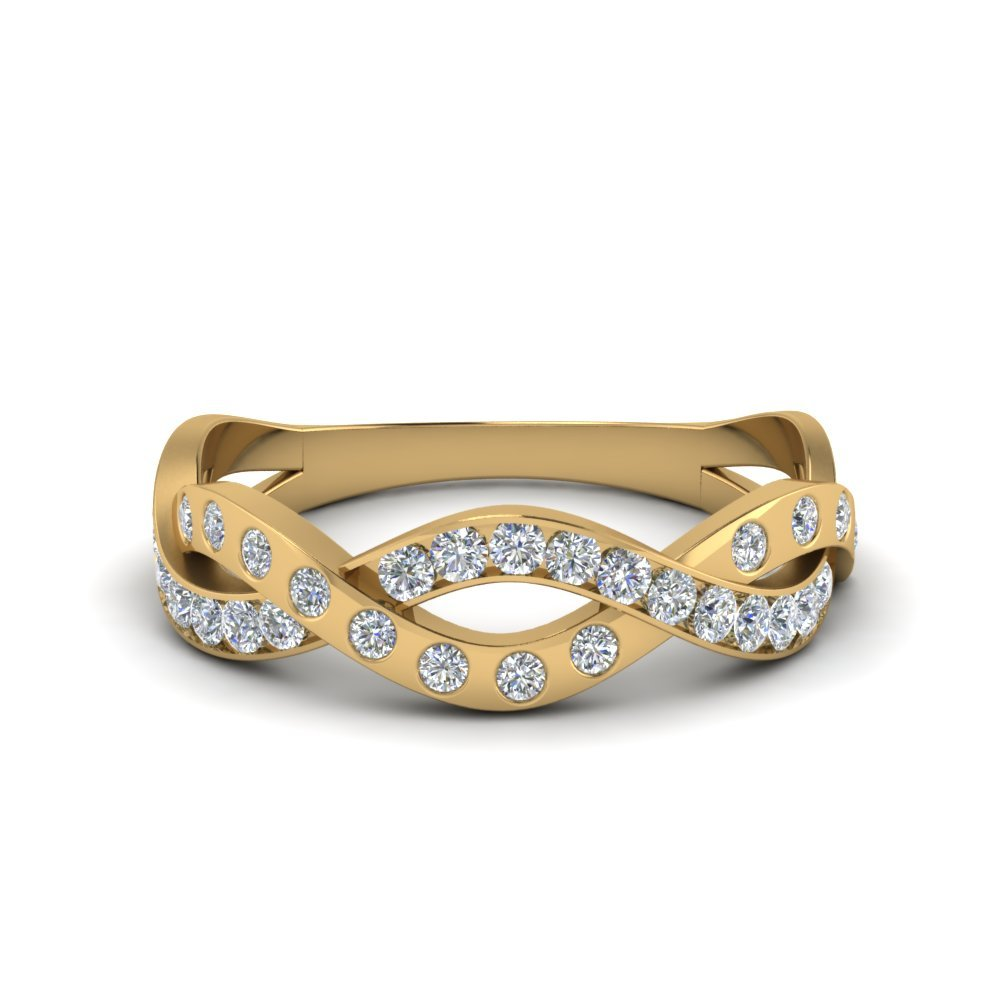 Pave And Bezel Infinity Diamond Band In 14K Yellow Gold