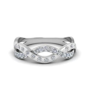 Pave And Bezel Infinity Diamond Band In 18K White Gold