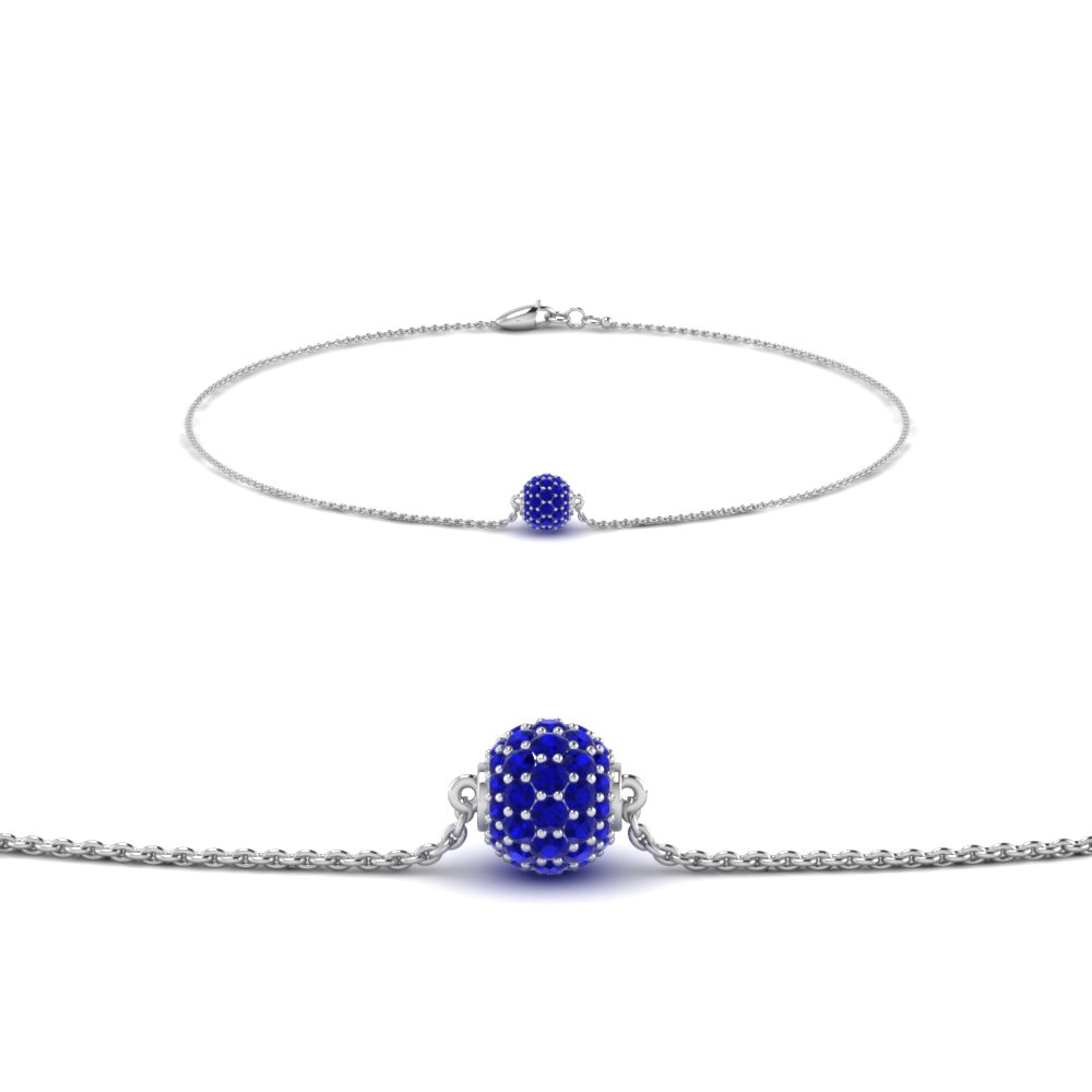Pave Ball Chain Bracelet With Sapphire In 14K White Gold