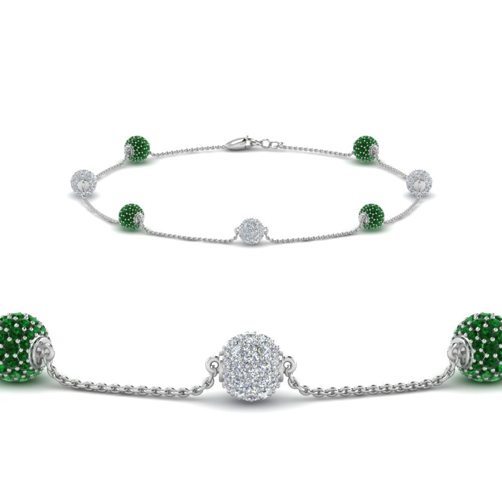 Emerald Pave Ball Diamond Bracelet