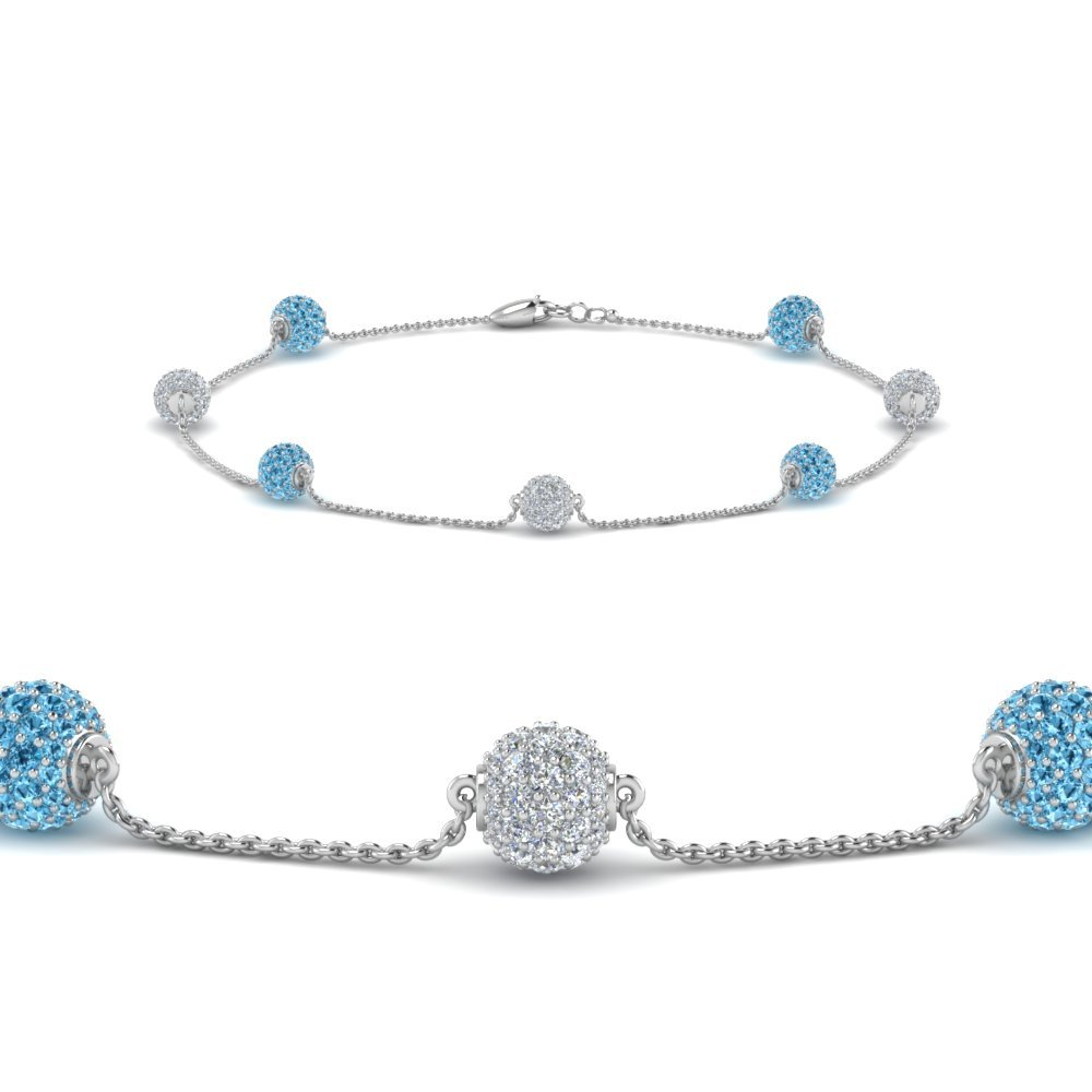 Blue Topaz Platinum Diamond Bracelet
