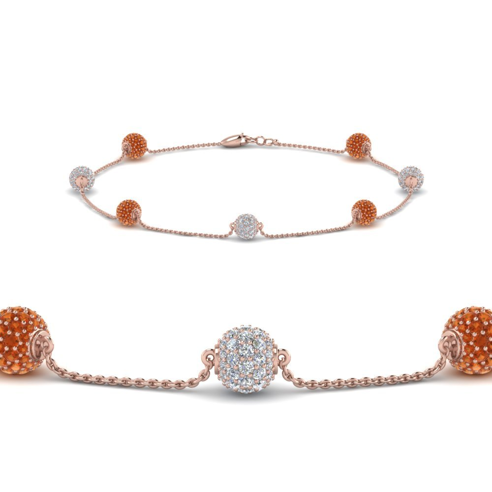 Orange Sapphire Pave Ball Diamond Bracelet