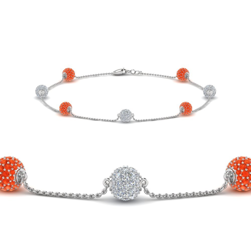 Orange Topaz Pave Ball Diamond Bracelet