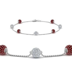 Pave Ball Diamond With Ruby Bracelet